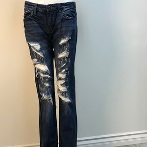 vintage BLANK NYC dark wash distressed denim jeans